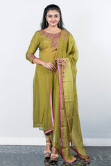 Light Olive Embroidered  Organza Semi-stitched Salwar