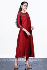 Maroon Dupion Silk Semi-stitch Salwar With Floral Works