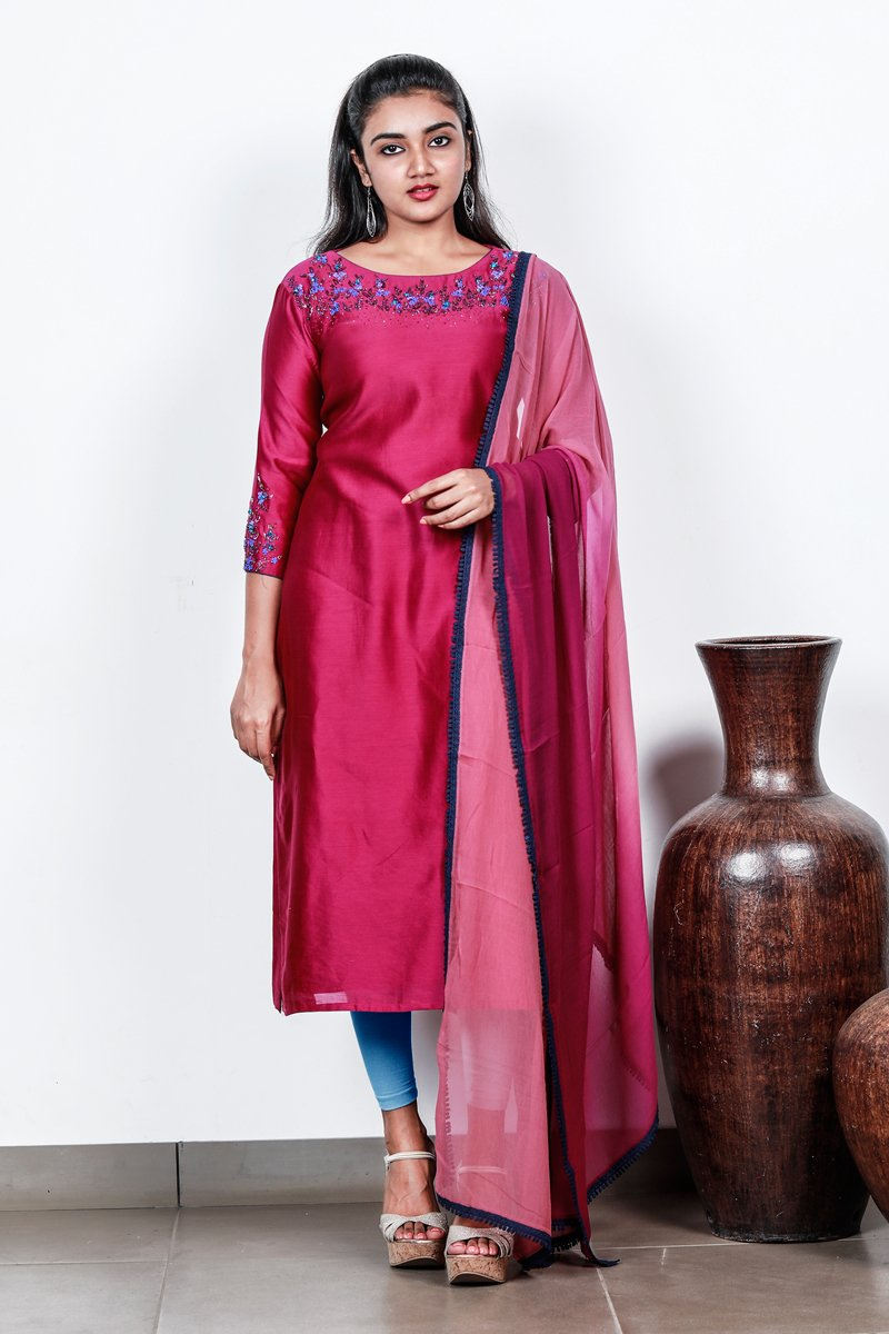 Paris Dark Pink Chanderi Semi-stitch Salwar With Floral Bunch Works
