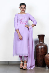 Light Purple Organza Semi-stitch Salwar With Floral Embroidered Yoke