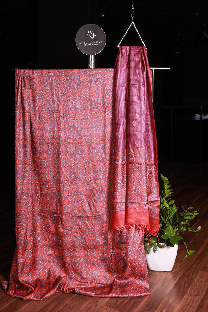 Grape Wine- Orange Printed Tusser Silk Salwar Material