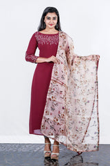 Burgundy Georgette Embroidered Semi-stitch Salwar And Printed Organza Duppatta