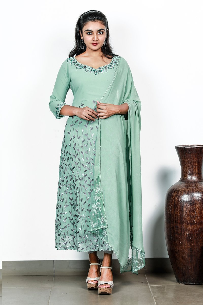 Paris Green A-line Flaired Georget Embroidery Salwar Top Bottom And Duppatta