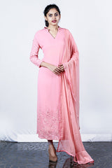 Peach Embroidered Georgette Semi-stitch Salwar With Georgette Embroidery Appliques And Sleeves