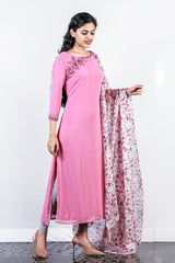 Pink Floral Embroidered Georgette Semi-stitch Salwar