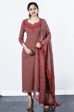 Brown Georgette Floral Appliqued Semi-stitch Salwar