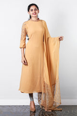 Yellowish-orange Georgette Flaired Semi-stitch Salwar With Embroidered Collar And Raglan Sleeves