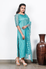 Blue Embellished Linen Satin Semi-stitch Salwar With Net-net Embroidery Duppatta