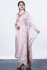 Pale Peach Embellished Linen Satin Semi-stitch Salwar With Net-net Embroidery Duppatta