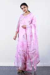 Pink Floral Embroidered Organza Semi- Stitch Salwar