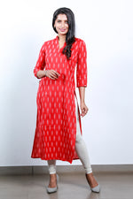 Paris Reddish Orange ikkat collar kurtha