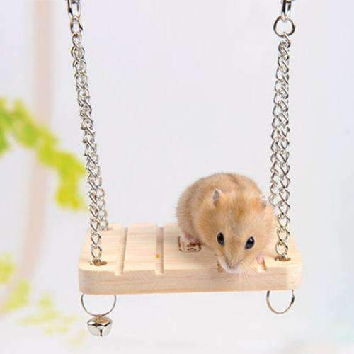 Pet Wooden Hamster Bell Swing with Chain Small Bell Suspension Poppled