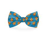 """I Usually Only Get The Crust""  Pizza Dog Bow Tie Blue"