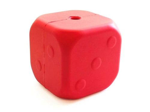 MKB Dice Toy Durable Rubber Chew Toy & Treat Dispenser - Large - Red