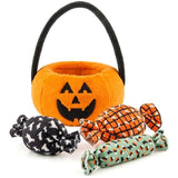 Trick or Treat Plush Pumpkin Basket Dog Toy