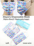 50 Pack Multi Color Disposable Face Cover