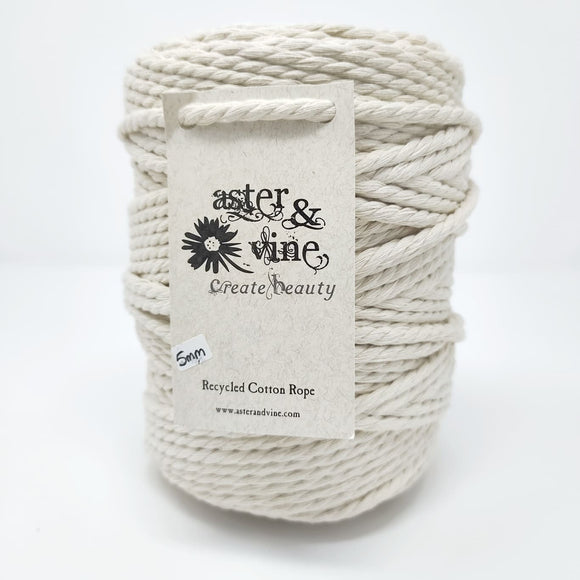 Aster & Vine Recycled Cotton Rope 1 kg Cone - 5 mm 3 Strand