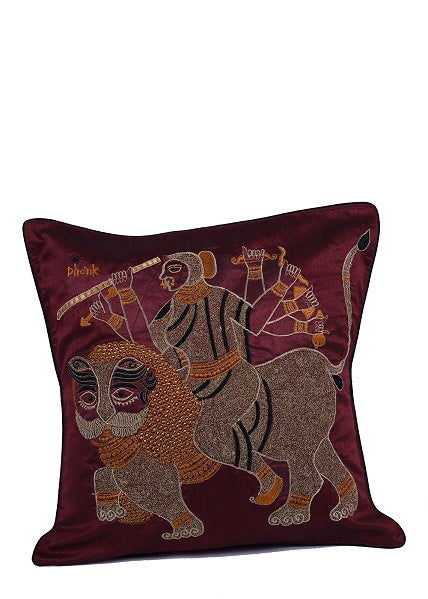 Mataji Embroidered Silk Cushion Cover