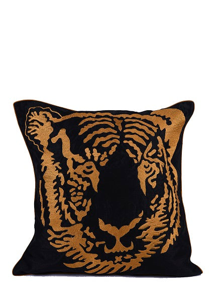 Tiger Face Embroidered Silk Cushion Cover