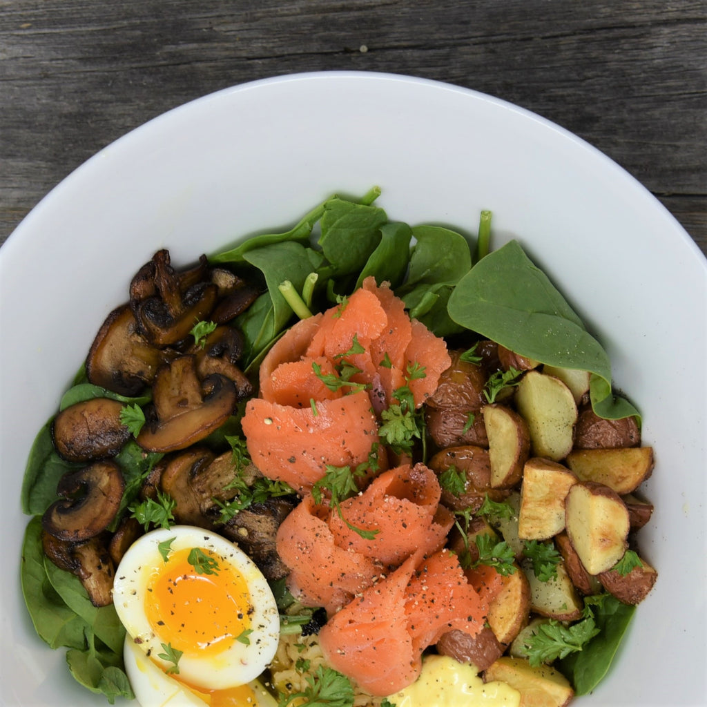 Smoked Salmon and Rice Breakfast Bowl