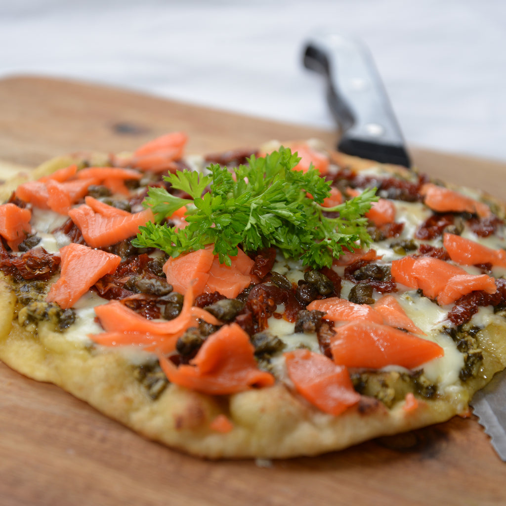 Smoked Salmon and Sundried Tomato Flatbread Pizza