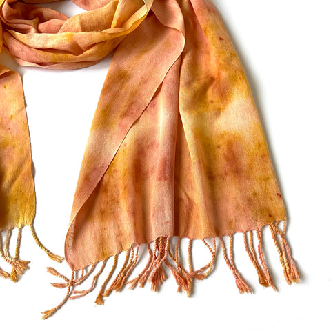 Naturally dyed peace silk shawl tutorial