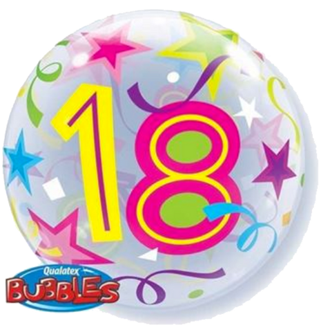 18th Birthday Stars Bubble Balloon 56cm