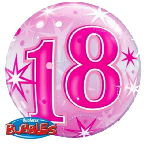18th Birthday Pink Stardust Bubble Balloon 56cm