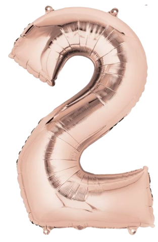 Number 2 Jumbo Rose Gold Foil Balloon