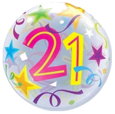 21st Birthday Stars Bubble Balloon 56cm
