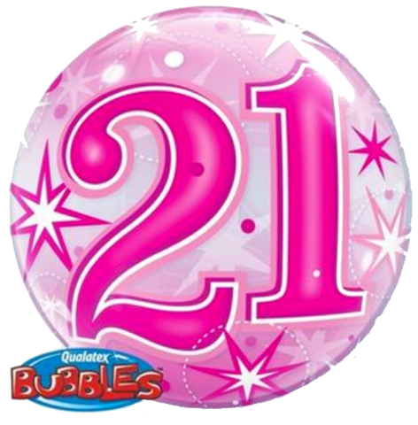 21st Birthday Pink Stardust Bubble Balloon 56cm