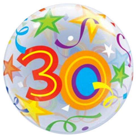 30th Birthday Stars Bubble Balloon 56cm