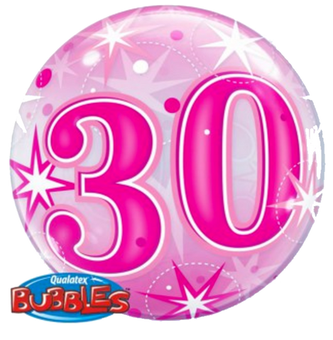 30th Birthday Pink Stardust Bubble Balloon 56cm