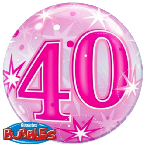 40th Birthday Pink Stardust Bubble Balloon 56cm