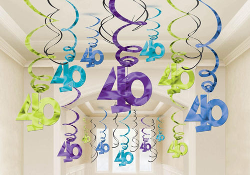 40th Swirl Decorations Mega Value Pack