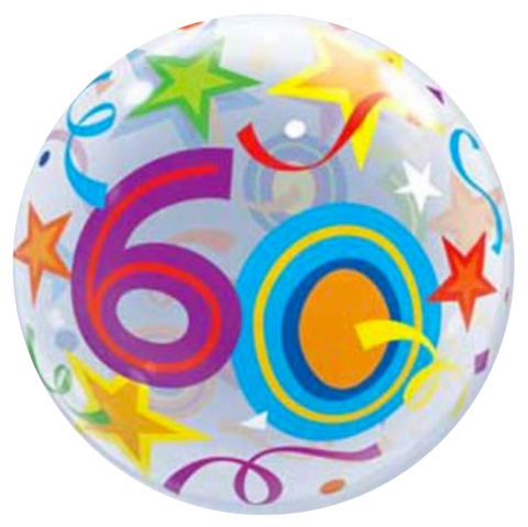 60th Birthday Stars Bubble Balloon 56cm