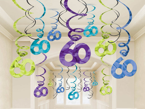 60th Swirl Decorations Mega Value Pack