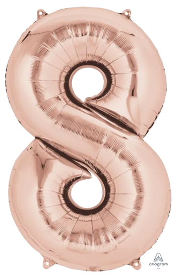Number 8 Jumbo Rose Gold Foil Balloon