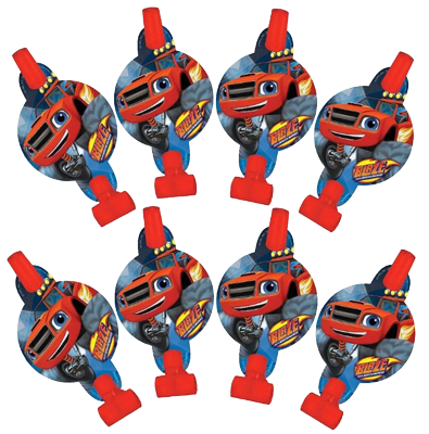 Monster Truck Party Blowers pk 8