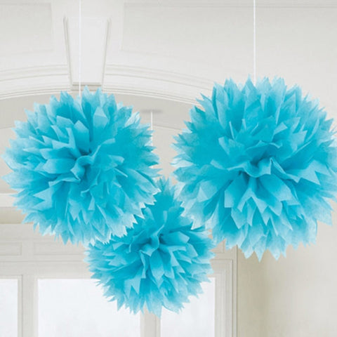 Light Blue Pom POm Tissue Decorations