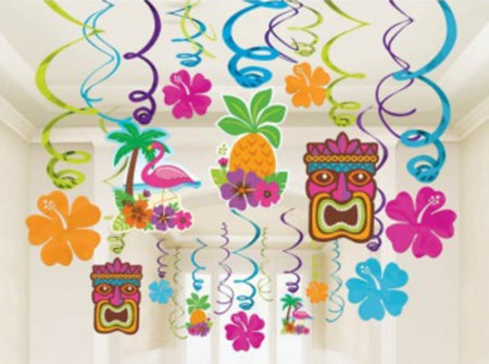 Hawaiian Luau Hanging Swirl Decorations pk30