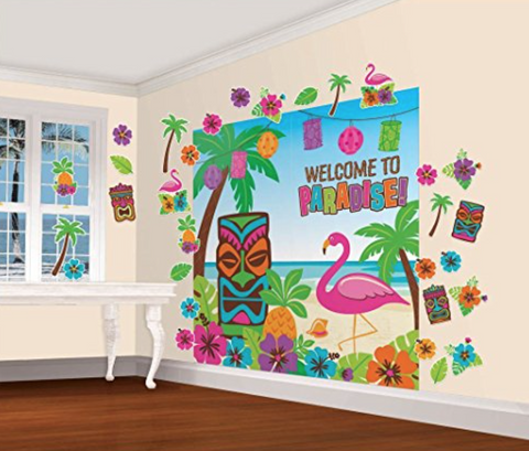 Hawaiian Luau Wall Decorating Mega Value Kit