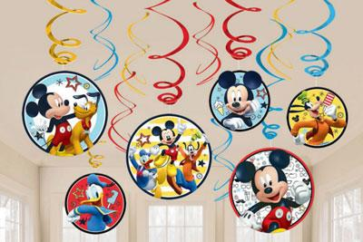 Mickey Mouse Swirl Decorations pk 12