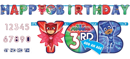 PJ Masks Happy Birthday Banner