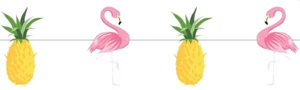 Tropical Pineapple & Flamingo Party Banner