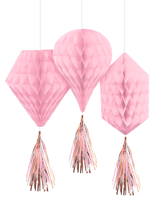 Pink Roe Gold Honeycomb Decorations NZ