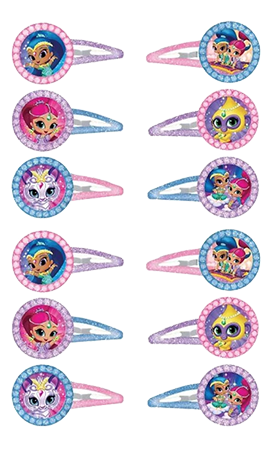 Shimmer and Shine hair clips party favours