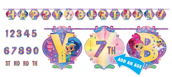 Shimmer and Shine 'Add and Age' Birthday Banner