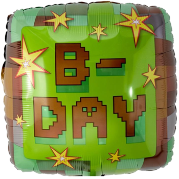 Minecraft B-day Foil Balloon NZ