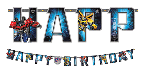 Transformers Happy Birthday Banner NZ